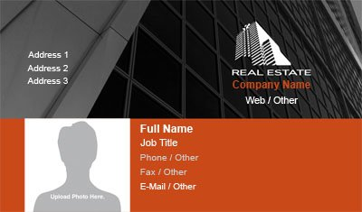 Black and Red Real Estate Business Card Template